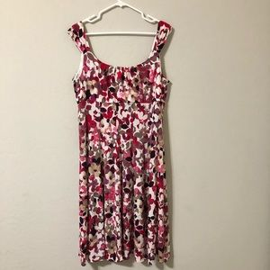 Pink and Purple Floral Midi Dress